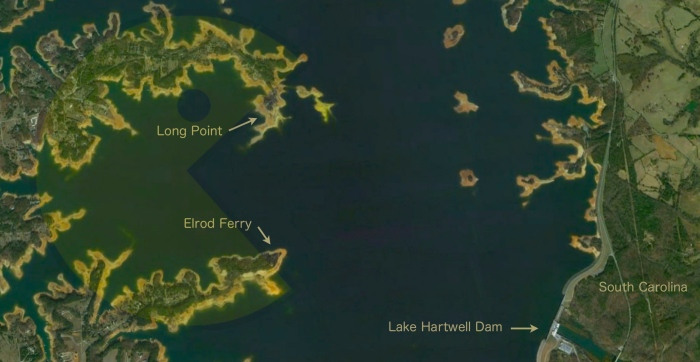 2012 Lake Hartwell Satellite Image