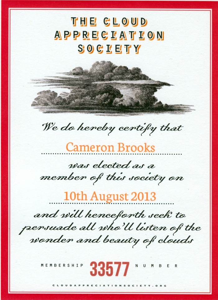 The Cloud Appreciation Society Certificate