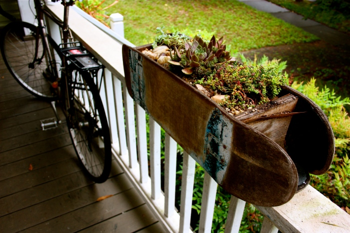 Skateboard Deck Succulent Planter On the Porch